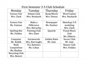 3-5 Club Schedule Semester 1
