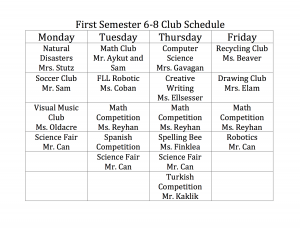 6-8 Club Schedule Semester 1